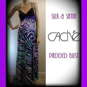 Cache Silk & Satin Empire Waist Animal Print Dress